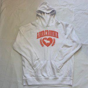 White Abercrombie Kids Pink Logo Hoodie Size 15/16